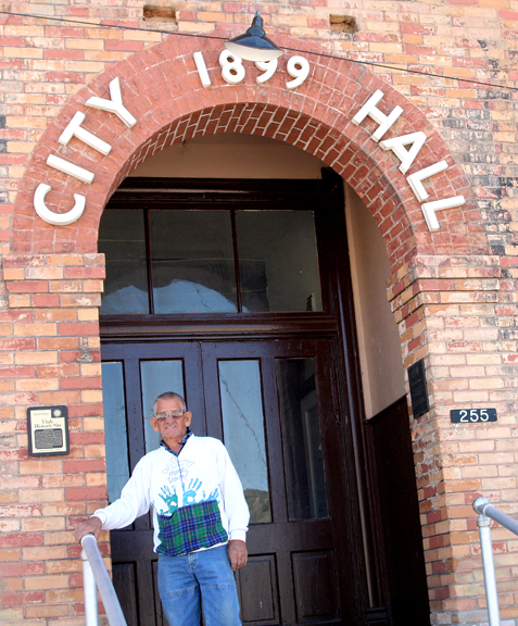June McNulty in front of Eureka City Hall