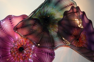 Blown glass platters by Dale Chihuly