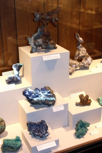 Specimens of copper minerals at Missouri Mines State Historic Site