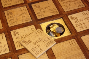 Gold samples underneath the gold tile