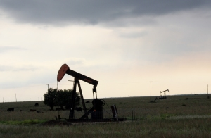 Oil jacks northwest of El Dorado, KS