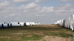 Wind turbines under construction near Dodge City, Kansas