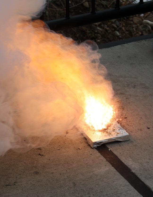 Burning gunpowder