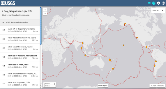 Earthquake realtime data