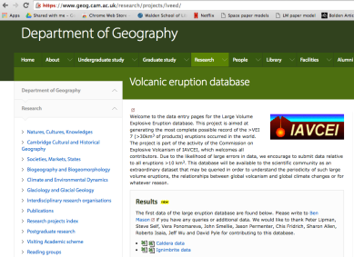 Volcanic caldera database