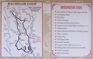 Map of the Bachelor Loop scenic trail north of Creede.