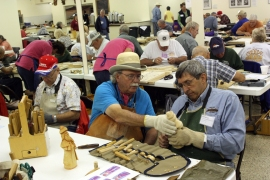 Woodcarving lessons in the Creede Community Center.
