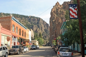 Creede Main Street looking north into Willow Creek Canyon.