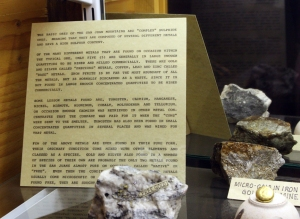 Gold ore from the San Juan Mountains on display in the Silverton museum.
