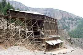 Commodore Mine ore house and chutes. Ore was hauled from the adit across a bridge to the top of the tipple.