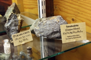 Silver ore from the San Juan Mtns., on display in the Silverton museum.