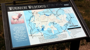 Weminuche Wilderness sign and road map.