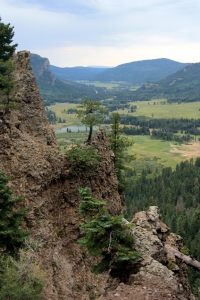 View from Wolf Creek Pass toward Pagosa Springs.