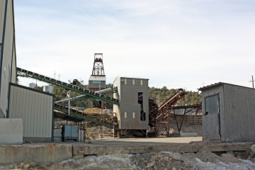 Silver ore concentration plant at the Burgin mine