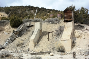 Water chute, tanks, and old foundation at the Tintic Standard Mine