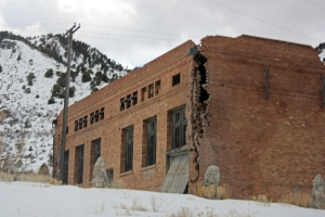 Ruins of the old power plant in Eureka. Heavy machinery moving through town has contributed to the deterioration of historic buildings like this one.