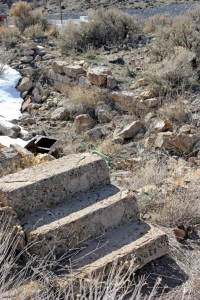 Ruined foundation of a house in Eureka. We sampled near here, since yard fill was often collected from the mine dumps.