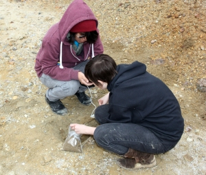 Jeffrey and Indie taking samples at the Tintic Standard Mine