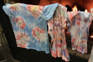 T-shirts drying by the fire at Timp Lodge.