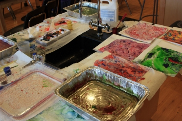 Set up to make marbled paper during my Intersession Science and Art class.