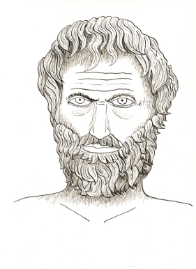 Drawing of Aristotle using iron-gall ink. I did this as a demonstration project for the chemistry students.