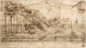 Original drawing by Leonardo da Vinci using iron-gall ink