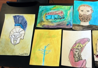 Paintings made with homemade pigments for my Intersession Science and Art class