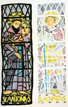 Painting of stained glass windows by Nicole.