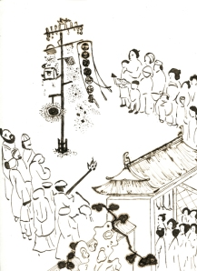 Illustration of Chinese fireworks by Richard, made with iron-gall ink
