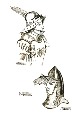 Illustration of armor by Sebastian using iron-gall ink