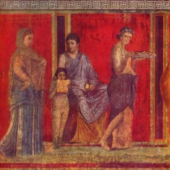 The Villa of Mysteries in Pompeii. The red background color is vermilion, or mercury sulfide made from cinnabar. According to Pliny the Elder, the painters made a nice side profit by frequently washing their brushes and taking home the wash water.