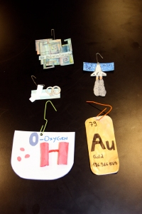 Element ornaments made by chemistry students at Walden School of Liberal Arts