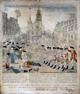Paul Revere's colored engraving of the Boston Massacre