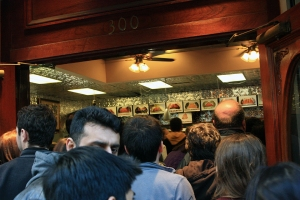 The crowd at Mike's Pastry on a Saturday night. Cannoli, anyone?