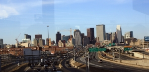 Downtown Boston in the evening, as seen from the shuttle bus.