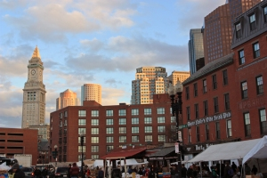 The Haymarket area and Durty Nellie's Tavern at sunset