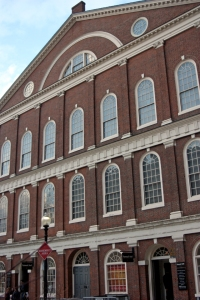 Faneuil Hall in Boston. At a meeting led by Sam Adams on Dec. 16, 1773, a group of men initiated the Boston Tea Party.