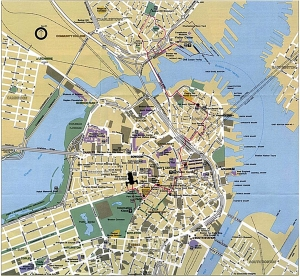 Detailed map of the Freedom Trail in Boston. At this point in my journey, I was in the Quincy Market area.