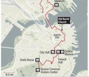 A simplified map of the Freedom Trail in Boston.