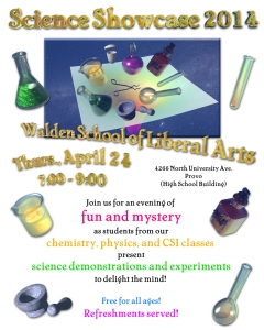 "Poster for our 2nd ""annual"" Science Showcase at Walden School"