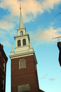 "Spire of the Old North Church. as seen from the direction of Charlestown. ""One if by land, two if by sea."""