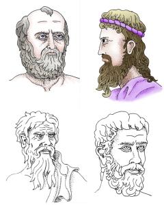 Greek philosophers: Anaximander, Anaxemines, Heraclitus, and Parmenides. Illustrations by David Black.