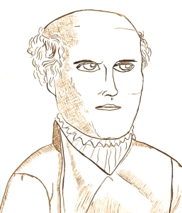 Paracelsus, drawn by a student using homemade iron-gall ink.