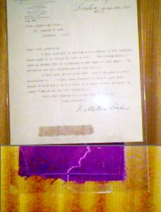A letter from William Henry Perkin, Jr. and  sample of silk cloth dyed with mauveine, the first aniline dye made from coal tar derivatives. It is a much brighter color than we usually associate with mauve today.