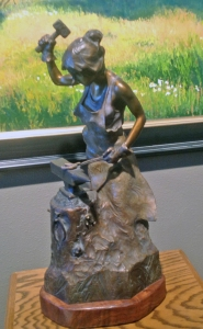 Blacksmith statue at Adonis Bronze, made with the lost wax technique.