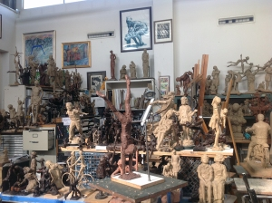 Clay sculptures used as original molds for the bronze statues.