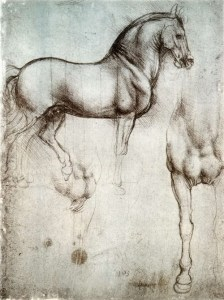 Sketches of horses by Leonarda Da Vinci in preparation for creating the bronze horse.