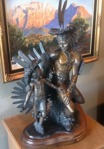 Feather dancers, a statue on display in the showroom of Adonis Bronze.