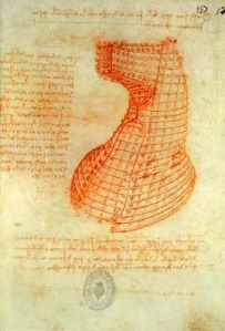 Da Vinci's sketch for how he would pour the bronze.