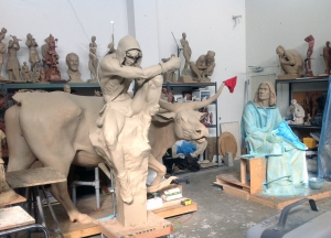 Other clay statues. They are built around a wire and metal rod armature.